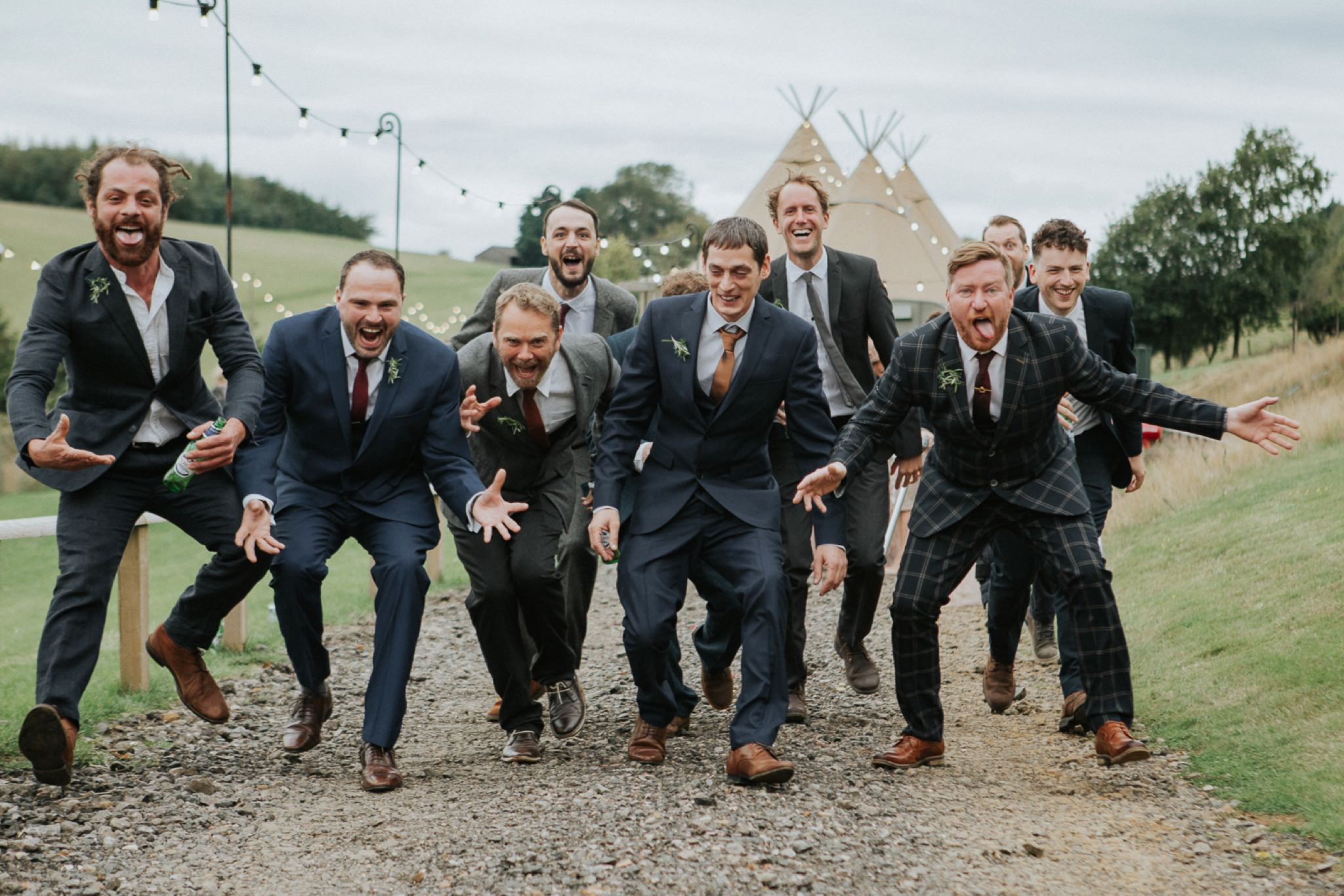funny image of wedding ushers doing a haka dance hadsham farm oxfordshire