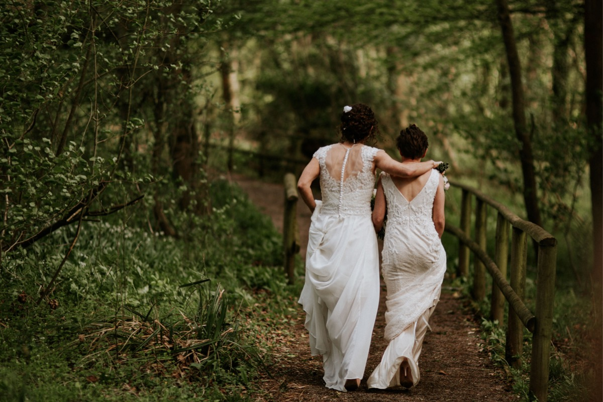 bride and bride on the walk in the woods, somerset
