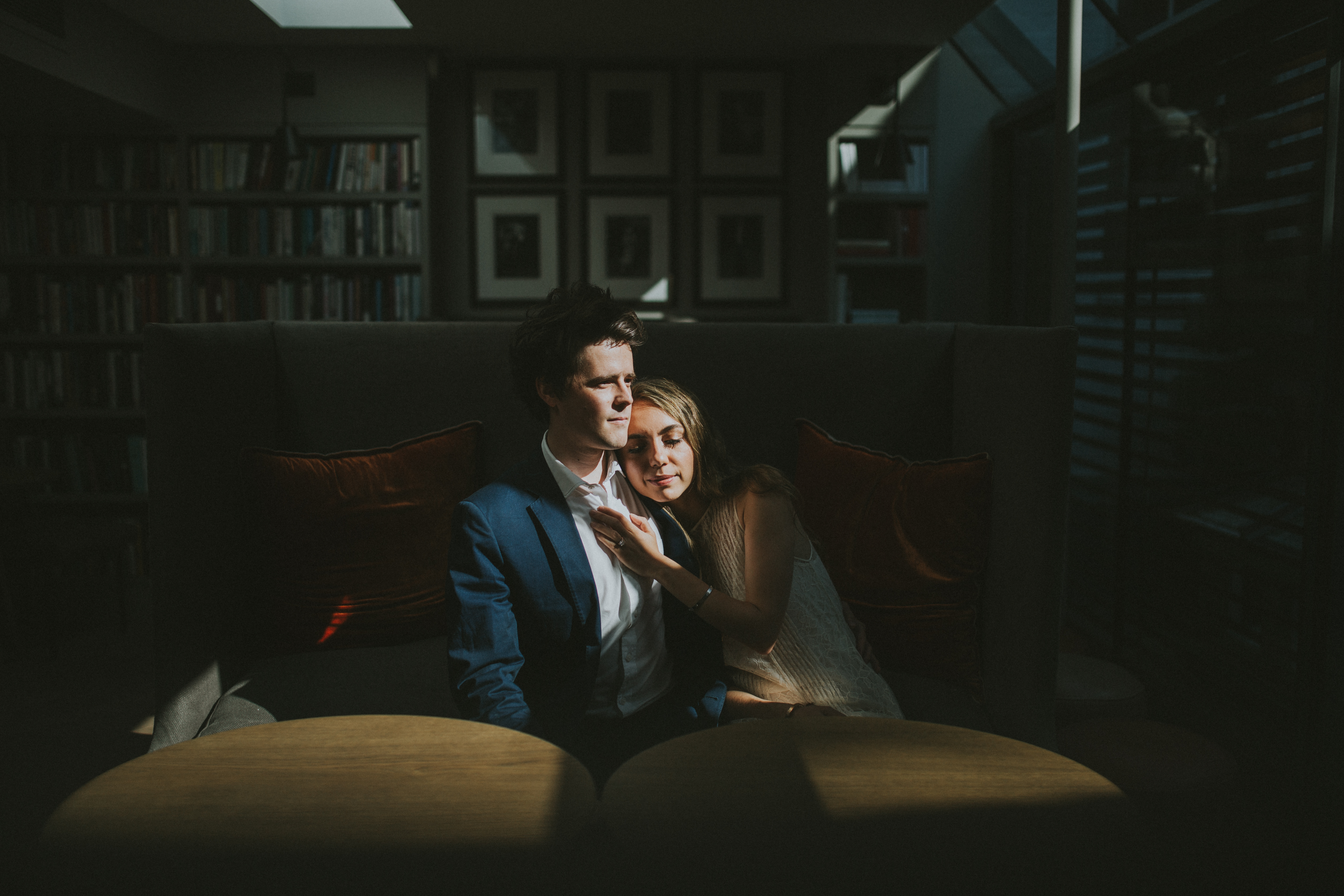 engaget couple portrait in Old Parsonage Hotel on Oxford