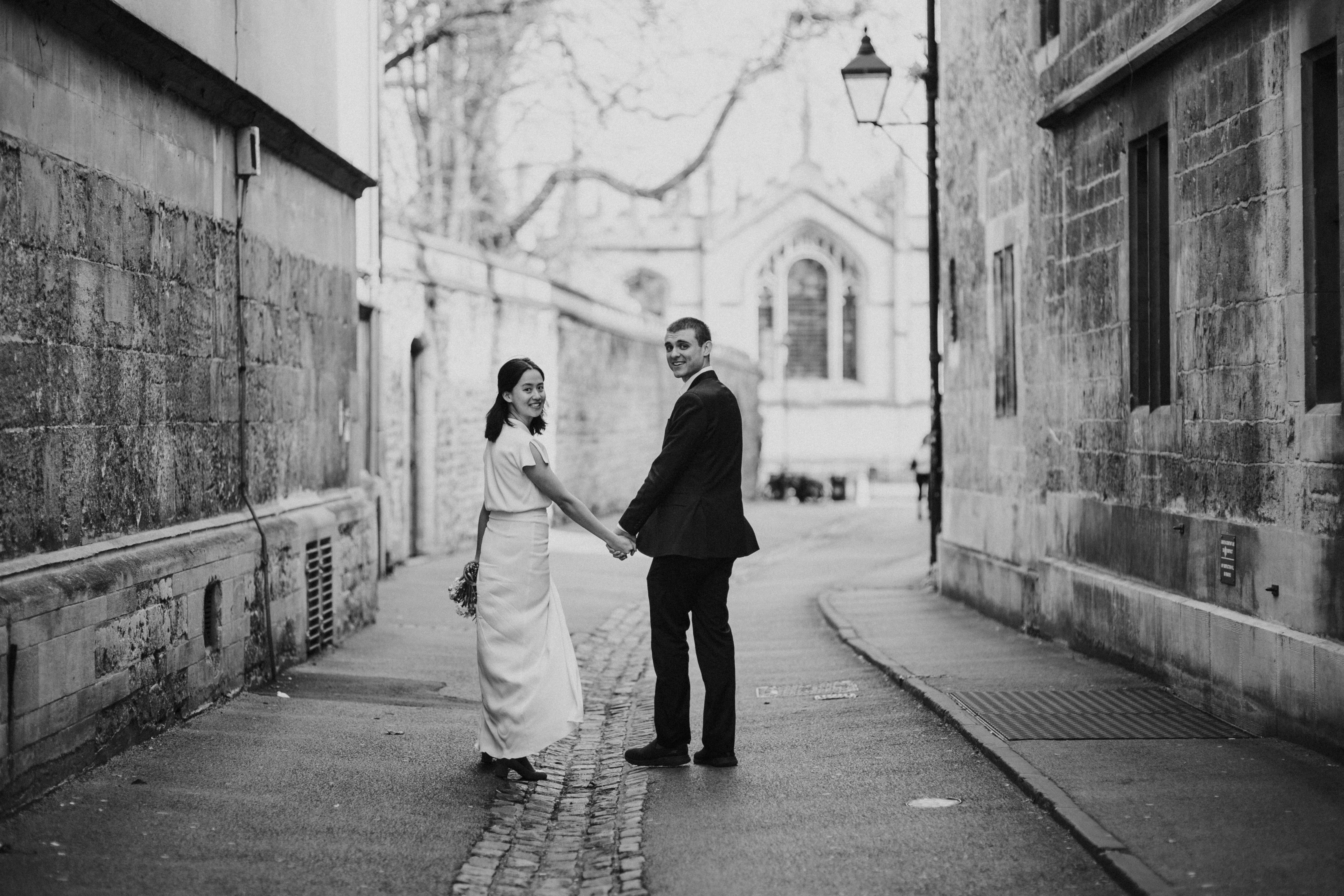 blak and white lifestyle portrait of the newlyweds